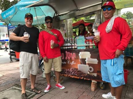 Iced coffee at Sarom's coffee cart.